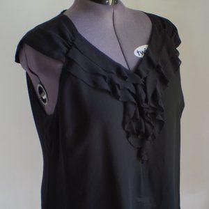 Black ruffle blouse wear to work 20w